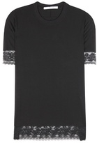 Givenchy Lace-trimmed Silk-blend T-shirt