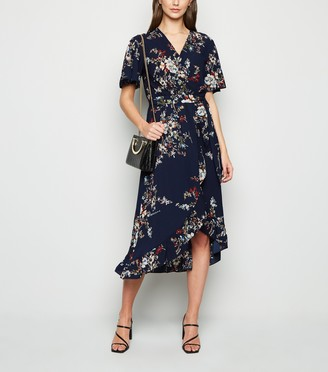 New Look Mela Floral Frill Wrap Midi Dress