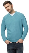 Mantaray Big And Tall Turquoise V Neck Sweater