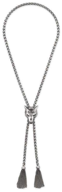 Gucci Anger Forest wolf head necklace in silver