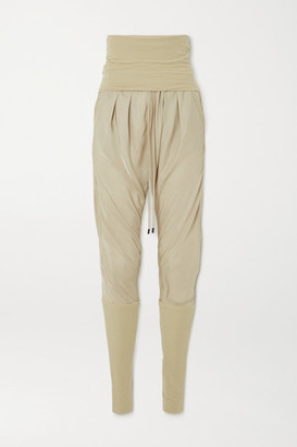 Tom Ford Jersey-paneled Washed-twill Track Pants - Beige