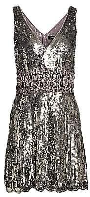 Jenny Packham Women's Sleeveless V-Neck Sequin Fit-&-Flare Dress