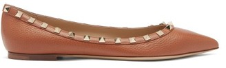 Valentino Rockstud Point-toe Leather Ballet Flats - Tan