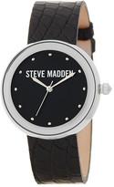 Steve Madden Women&s Croc-Embossed Genuine Leather Strap Watch
