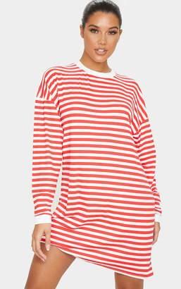 PrettyLittleThing Red Wide Stripe Long Sleeve Boyfriend T Shirt Dress