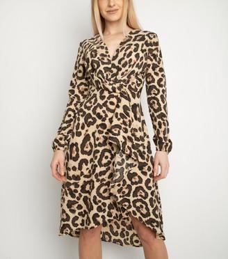 New Look Miss Attire Leopard Print Wrap Dress