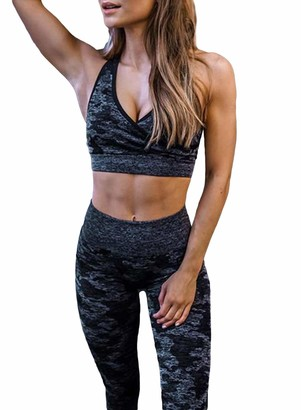 AlvaQ Womens Camo Print Sports Bra and High Waist Leggings 2 Pieces Set