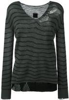 RtA striped distressed fine knit jumper