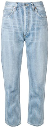 Citizens of Humanity Striped Cropped Jeans