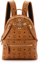 MCM Dual Stark Small Visetos Backpack w/ Pouch, Cognac