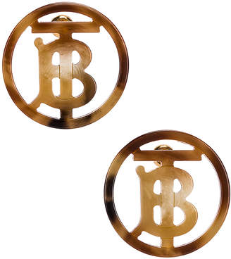 Burberry Large Outline Earrings in Light Gold &Tartaruga   FWRD