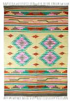 Wool dhurrie rug (4x6), 'Indian Roses'