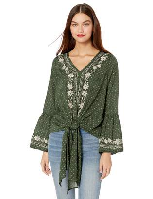 August Sky Women's Embroidered Bell Sleeve Top with Front Tie-Polka DOT Olive-S