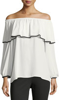 Vince Camuto Contrast-Trim Off-the-Shoulder Blouse