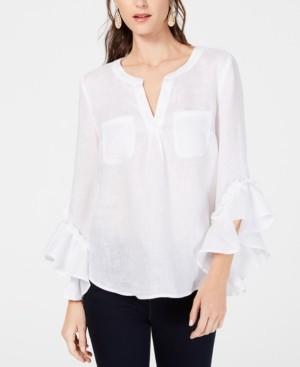 INC International Concepts Inc Petite Ruffled-Cuff Split-Neck Linen Top, Created for Macy's