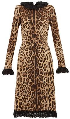 Dolce & Gabbana Cady Crochet-trimmed Leopard-print Crepe Dress - Womens - Leopard