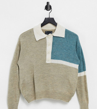 ASOS DESIGN Petite knitted rugby jumper with block pattern in beige