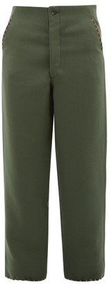 Bode Souvenir Cross-stitched High-rise Wool Trousers - Green