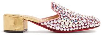 Christian Louboutin Eltonetta 35 Crystal-embellished Suede Mules - Pink Multi