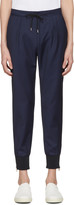 Paul Smith Navy Check Zip Trousers