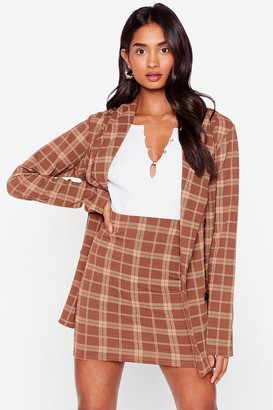 Nasty Gal Womens Line Them Pockets Check Minii Skirt - Brown - 4