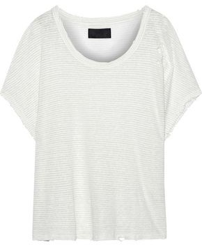 RtA Distressed Metallic Striped Linen-blend T-shirt