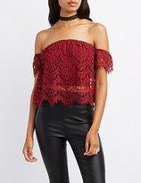 Charlotte Russe Crochet Off-The-Shoulder Crop Top