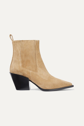 AEYDĒ Kate Suede Ankle Boots - Beige