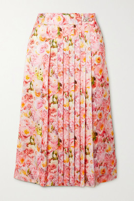 Commission Belted Pleated Floral-print Satin Midi Skirt - Pink