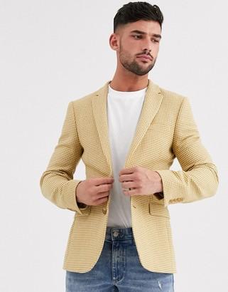 ASOS DESIGN wedding super skinny wool mix blazer with micro check in mustard
