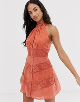 Asos Design DESIGN lace insert button through halterneck mini sundress