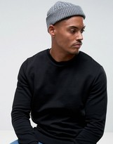 Asos Mini Cable Fisherman Beanie In Gray