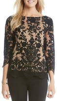 Karen Kane Embroidered Scallop Lace Top
