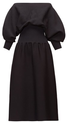 Bottega Veneta Off-the-shoulder Balloon-sleeve Dress - Womens - Black