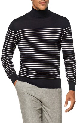 Suitsupply Striped Wool Turtleneck Sweater
