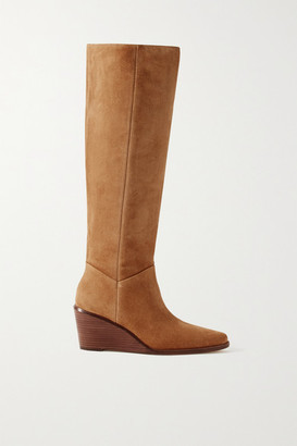 Vince Marlow Suede Wedge Knee Boots - Light brown