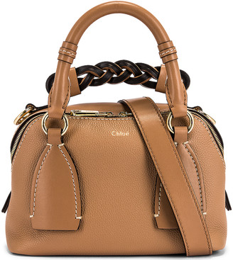 Chloé Small Daria Leather Day Bag in Cement Brown | FWRD