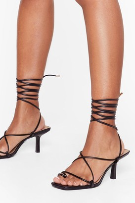 Nasty Gal Womens Tie to Pull It Toe-gether Faux Leather Kitten Heels - Black - 5, Black
