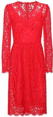 Dolce & Gabbana Floral-Lace Knee-Length Dress