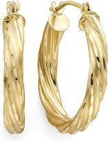 FINE JEWELRY Diamond-Cut 14K Yellow Gold 15mm Twisted Hoop Earrings