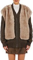 Helmut Lang Women's Faux-Fur-Vest Bomber Jacket-DARK GREEN