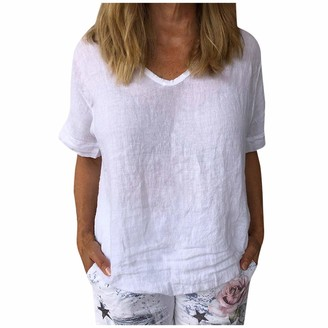 Amandaz Women Casual Cotton and Linen Shirts O Neck Blouse Button Up Tunic Casual Tops Women's Short-Sleeved Cotton and Linen Loose Solid Color Casual Tops White