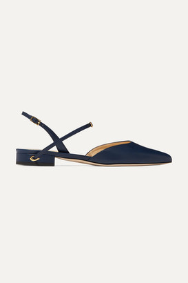 Jennifer Chamandi Vittorio Leather Slingback Point-toe Flats - Navy