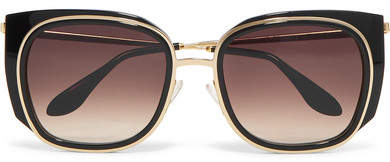Thierry Lasry Everlasty Square-frame Acetate And Gold-tone Sunglasses - Black
