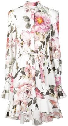 Marchesa floral print shirt dress