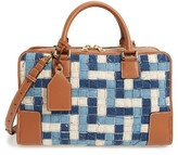 Loewe Amazona Woven Denim & Leather Satchel - Blue
