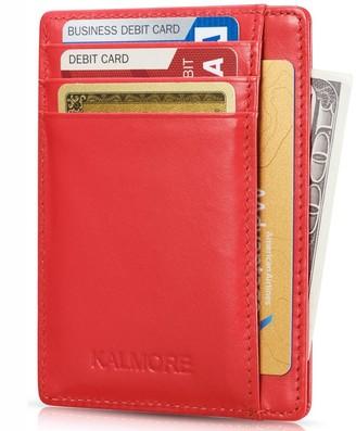 Kalmore Credit Card Holder Genuine Leather Slim Thin Pocket Wallet Minimalist Wallet Money Clip RFID Blocking
