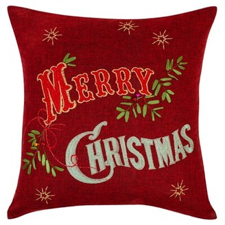 Violet Linen Seasonal Bells Christmas Merry Throw Pillow