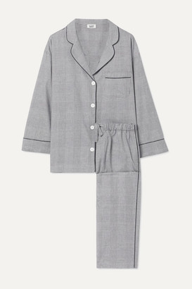 Sleepy Jones Marina Prince Of Wales Checked Cotton Pajama Set - Gray