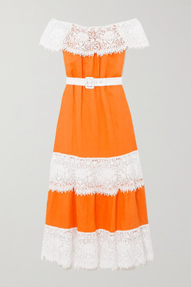 Miguelina Maeve Off-the-shoulder Belted Crochet-trimmed Linen Maxi Dress - Orange